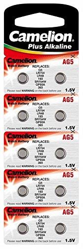 Alkaline Knopfzelle CAMELION AG5/LR48/LR754/393 mit AlMn/ 1.5V/ 53 mAh