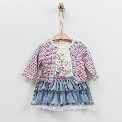 Sevira Kids - Kleid Baby aus Baumwolle Bio, 3 Monate ab 2 Jahre - Druck 3D - Sammlung Camille - Weiß, 18-24M - 86CM -