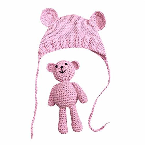 Neugeborene Fotoshooting Kostüm Baby Häkel Hut Mütze mit Bär (Rosa, 0-6 Monate)