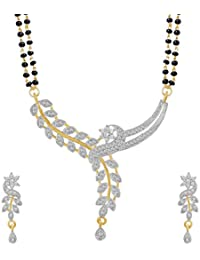 Vivaarya - American Diamond Gold Plated Mangalsutra Pendent With Chain & Earing For Women