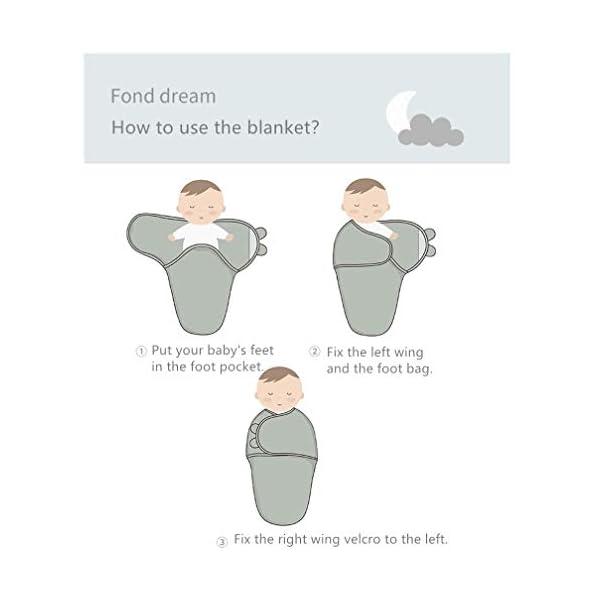 Manta Envolvente para Bebé y Recien Nacido – 2x Saco de Dormir Manta de Arrullo Cobija 100% Algodón – Para Bebes Recien Nacidos (0-2 meses, Azul)