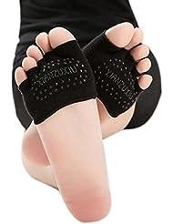 ZARU Mujeres mitad de la empuñadura del talón del dedo del pie del resbalón no Calcetines de cinco dedos calcetines de gimnasia yoga invisible (BK)
