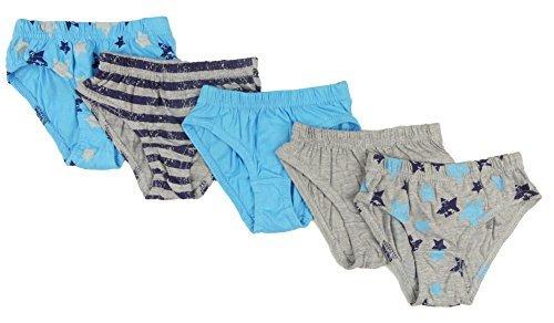 4kidz Jungen Pack Unterhose Unterhose drei Styles 100% Baumwolle 2-3Y to 5 - Blues und Grautönen, 116