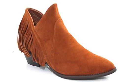 Damen coyboy Western Quaste Zip Mid helled Stiefelette Größe UK 3–8 Hellbraun