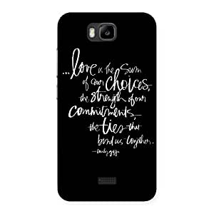 Special Quote of Love Multicolor Back Case Cover for Honor Bee