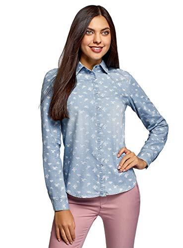 Oodji Ultra Mujer Camisa Vaquera Botones Presión