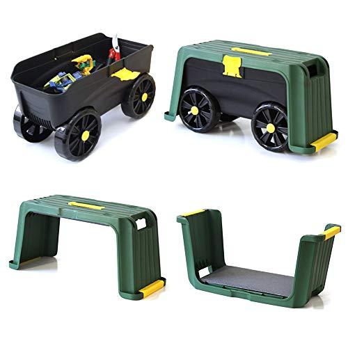 4-in-1 Gartenhocker/Aufbewahrungsbox,mit robusten Rollen,multifunktional, ideal für Außenbereich,leicht, abnehmbares Kniekissen, separater Hocker, inkl. Telefonhalter