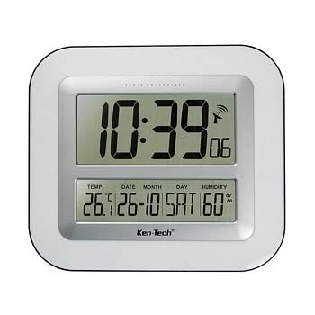 Atomic T-4680 Lcd Wall Clock With Temperature Date Humidity