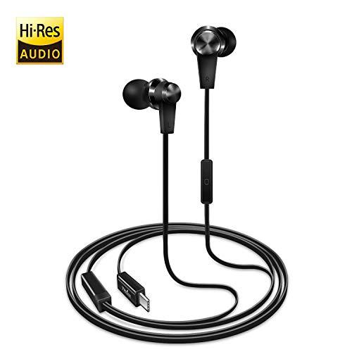 TriLink USB tipo C Auriculares de botón(DAC Chipset)Auriculares In Ear con Micrófono para iPad Pro/MacBook, Huawei P30/P20/Pro/Mate 20/Mate 10, OnePlus 6/6T/5/5T, Xiaomi, Google Pixel 3/3XL, HTC U12