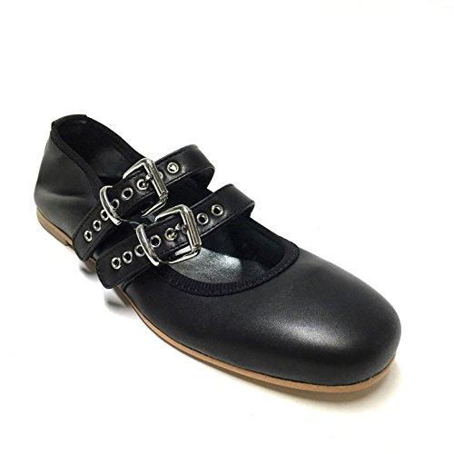 Ballerines Noires Shoegar Avec Sangles En Cuir Véritable Made In Italy Noir