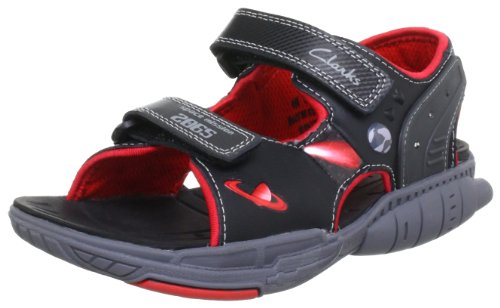 f4d12497e488 Clarks Boy S Orbiter Go Black Combi Leather Sandals And Floaters 10 5 Kids  Uk India 28 5 Eu