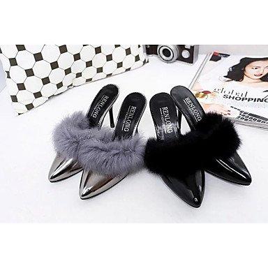 Moda Donna Sandali Sexy donna tacchi Primavera / Autunno Appartamenti PU Casual Stiletto Heel Fur Black / Silver Altri Black