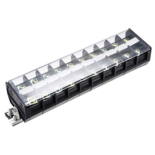ZCHXD Barrier Terminal Strip Block 10 Positions 660V 100A Dual Rows DIN Rail Base Screw Connector with Cover TD10010 4pcs -