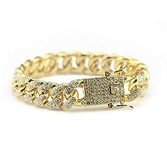 Idea Regalo - Bracciale da Uomo Braccialetto di Diamanti Hip Hop Bracciale Completo di Strass Bracciale Cubano Bracciale Moda Hiphop Larghezza 1.2 cm Bracciali avvolgenti Multistrato (Colore : Oro)