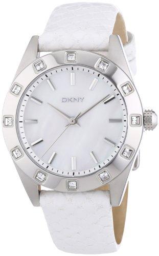 DKNY NY8790 - Reloj analógico de cuarzo para mujer, correa de cuero color blanco