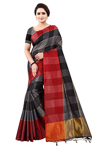 Dhruvi Trendz Women\'s Soft Art-Silk Solid checked Saree With Blouse Piece Material