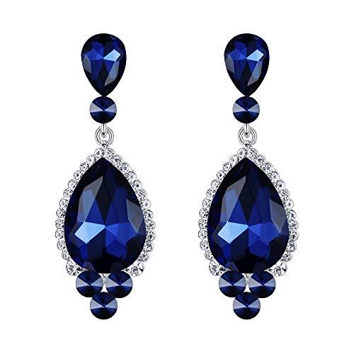 EVER FAITH Damen österreichischen Kristall Bridal elegante Teardrop durchbohrt Ohrringe Blau ()
