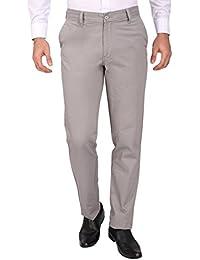 Modo Medium Grey Formal Chinos Trouser For Men ,Regular Fit, 100% Cotton Formal Trousers For Men