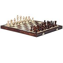 Set scacchi lavorato a mano da torneo 76 scacchiere in legno 39 cm x 39cm nuovissimo