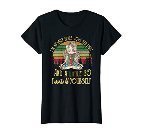 Damen I'm Mostly Peace Love And Light Yoga Tattooed Women Tshirt