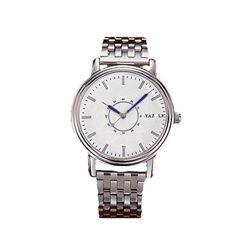 Herren Uhren, L'ananas 2018 Geschäft Wasserdicht Anolog Quarz Einfach Zeitleser Stahlstreifen Armband Steel Strip Armbanduhren Wristwatches (Silber+Weiß)