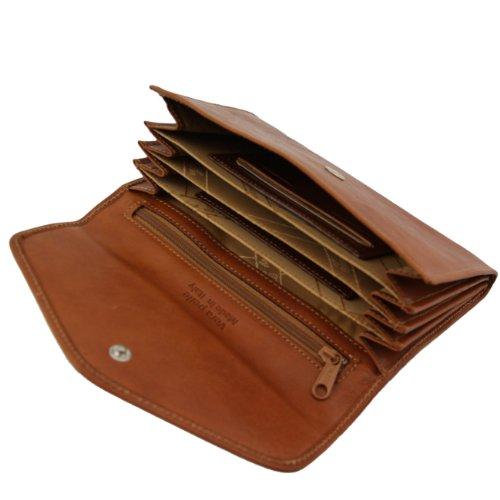 Tuscany Leather - Esclusivo portafogli in pelle da donna con soffietti Rosso Portafogli donna in pelle Marrone