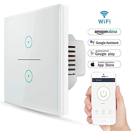 Smart lichtschalter, Wifi Smart lichtschalter 2 Gang Wandschalter mit Amazon Alexa, Google Home, gehärtetes Glas Touchscreen-schalter mit Timerfunktion und Überlastungsschutz