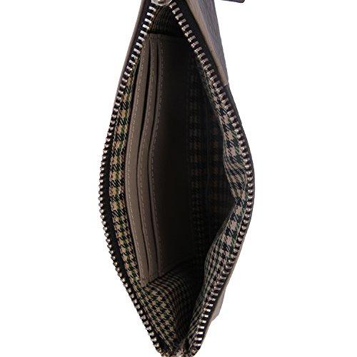 Walletsnbags Ladies Leather Wristlet Wallet-beigeLightgrey