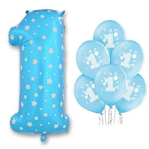 Ocballoons palloncino foil numero 1 azzurro addobbi primo festa compleanno 10 palloncini omaggio