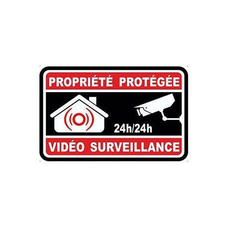 Autocollant propriété sous vidéo surveillance alarme 8 - 10x10 cm