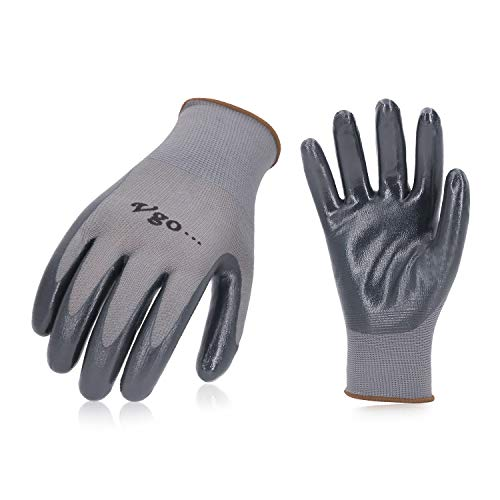 Vgo 10 Pairs Nitrile Coating Garden Gloves, Construction, Builder, Plumbing, Work Gloves General Purpose (Size 10/XL, Grey, NT2110)