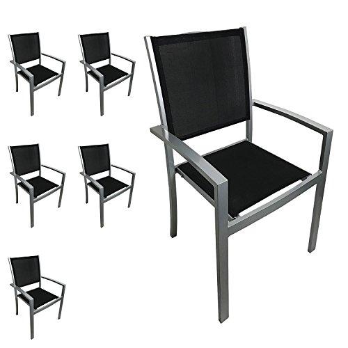 6 Stück Stapelsessel Gartenstuhl Stapelstuhl Gartensessel Stapelbar Aus  Aluminium Mit Textilenbespannung Balkonmöbel Gartenmöbel