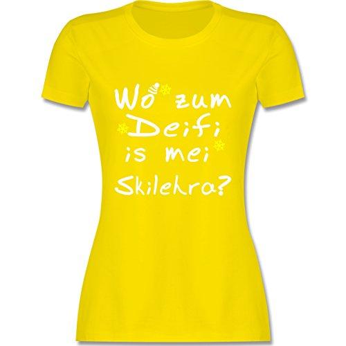 Wintersport - Wo zum Deifi is MEI Skilehra - S - Lemon Gelb - L191 - Tailliertes Tshirt für Damen und Frauen T-Shirt