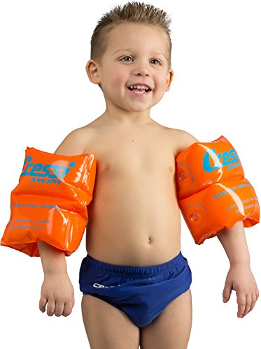 Cressi Premium Arm Bands, Braccioli Gonfiabili da Nuoto Unisex – Bambini, Arancio Fluo, Max 25 kg