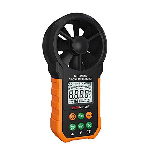 Protech Digitale Anemometro/ Air Volume con Schermo a cristalli liquidi e controluce MS6252A Digital anemometro Handheld LCD Elettronico Velocità del vento Air Volume metro di misura controluce