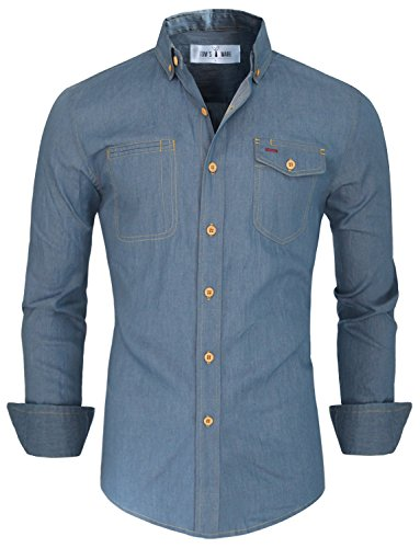 Tom's Ware Camicie-Maniche lunghe casuale pulsante Denim giu-Uomo TWTBMS02-NMS331S-LIGHTBLUE-US XXL