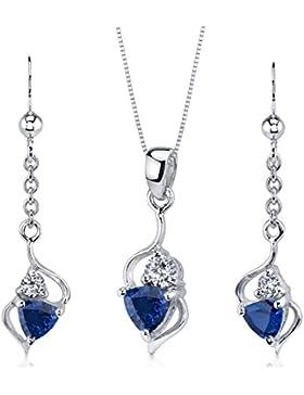 Revoni Damen-Schmuckset Halskette + Ohrringe 925 Sterling Silber 3 Saphire 2.25ct blau 3 Zirkonia farblos 46 cm...