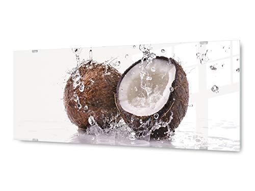 Glas Kokosmilch (Glasbild Wandbild GLX12553134476 Kokosnuss Kokosmilch 125 x 50cm / inkl. neues Aufhängesystem)