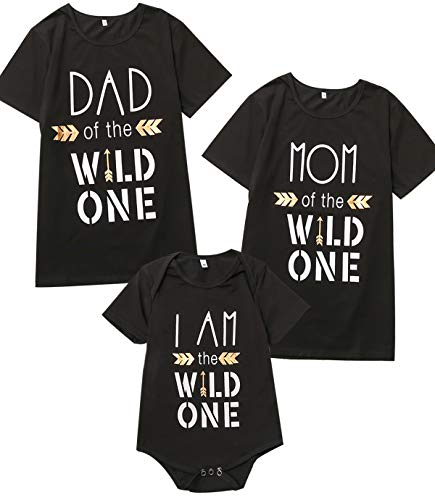 b4a0d98f2 Catpapa Baby Boys Son Daughter Wild One Short Sleeve Family Matching  Birthday Shirts (6-