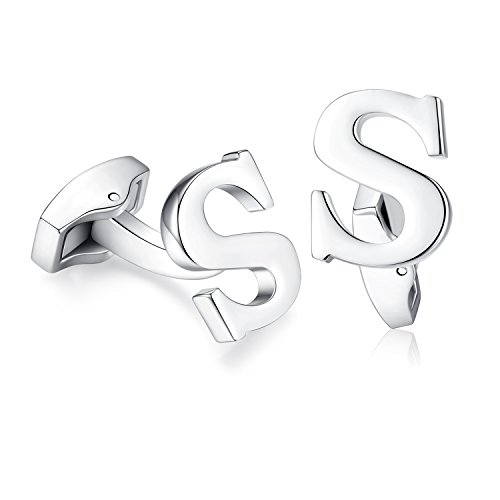 Hanana Herren Brief Buchstabe Alphabet Anfangsbuchstaben Alphabet Anfangsbuchstaben Manschettenknöpfe , Edelstahl Hochzeit S Cufflink Geschenk,A-Z,Silber,MEHRWEG