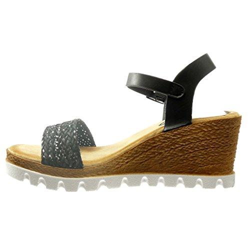 Angkorly Chaussure Mode Sandale Espadrille Plateforme Ouverte Femme Corde Talon Compensé Plateforme 7 cm Noir