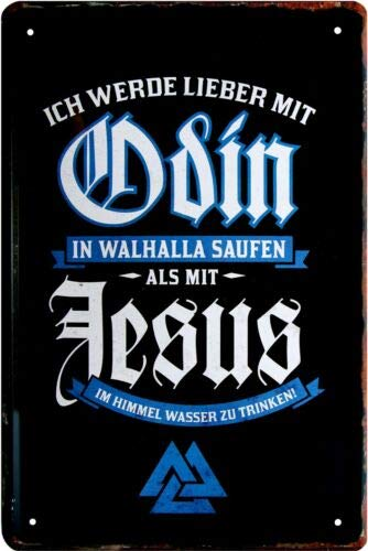 Lieber mit Odin in Walhalla Saufen Germanen 20x30 cm Blechschild 735