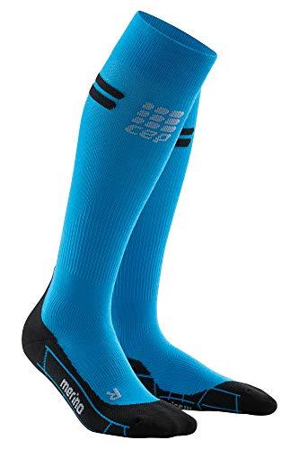 CEP - Merino Run Socks für Damen | Lange Laufsocken mit Kompressionswirkung | blau/schwarz | Größe IV