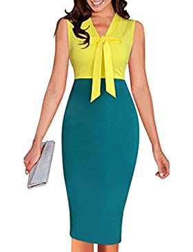Verano de Vacaciones Partido Coctel Fiesta Mujer Moda Color Costura Midi Vestidos Sexy Bodycon Lápiz Vestido Cuello...