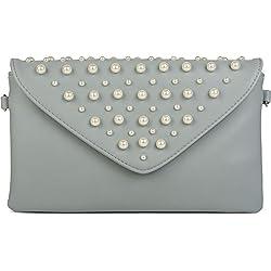 styleBREAKER Bolso de Mano Clutch en diseño de sobre con Perlas Grandes y pequeñas, Bolso de Fiesta, señora 02012217, Color:Azul Claro