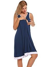 Untlet Damen Stillnachthemd Umstandskleid Stillkleid Umstands-Nachthemd mit Stillfunktion