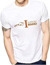 Crazy Fashion Shop Mens' Round Neck T-Shirt namo-Support-hs-White