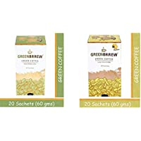 Greenbrrew Healthy Natural Instant Coffee & Lemon Instant Coffee each pack 60g (20 Sachets per Pack) - Pack of 2