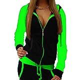 Mxssi Frauen Sportswear Herbst warm Trainingsanzug Zweiteilige Kontrastfarbe Sweatshirt Hose Trainingsanzug Hause Kleidung fluoreszierend grün m