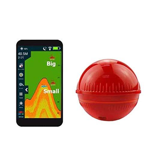 Aidashine Tragbare Sonar Fish Finder Bluetooth Wireless 48M / 157ft Tiefe Sea Lake Fish Detector, Angeln Fish Finder,Red Humminbird Wandler Wechseln